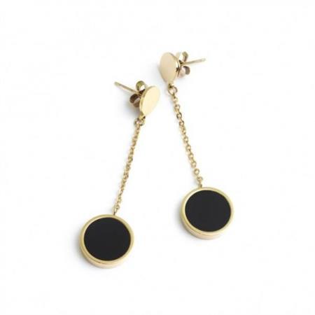 orecchini-oro-pendente-acrilico-nero