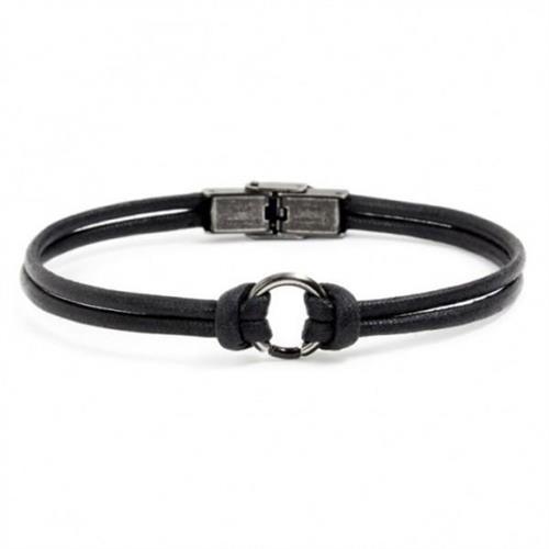 bracciale-corda-nero-acciaio-brunito