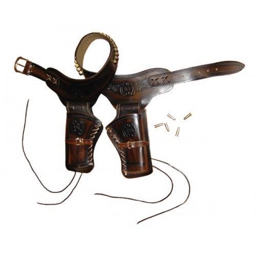 v-storm-cinturone-western-lavorato-per-2-pistole-marrone-scuro