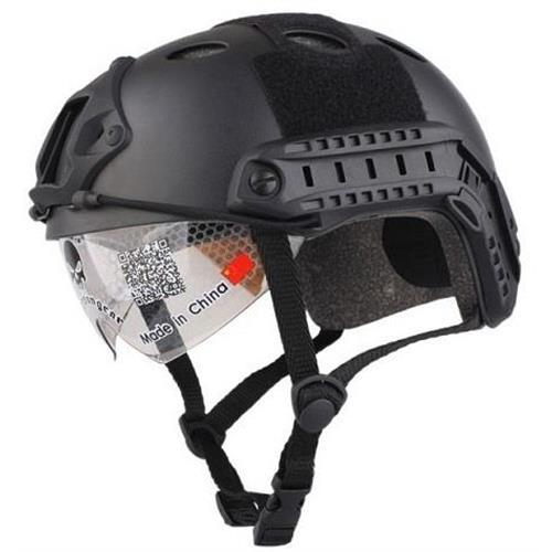 emerson-casco-tattico-fast-pj-nero-con-visiera