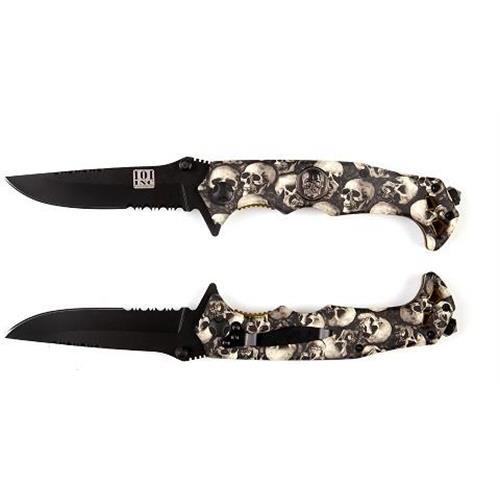 101-inc-coltello-serramanico-lama-brunita-da-9cm-mista-manico-con-teschi