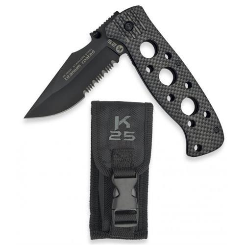 coltello-k25-combined-blade-carbon-cm8-5-con-fodero